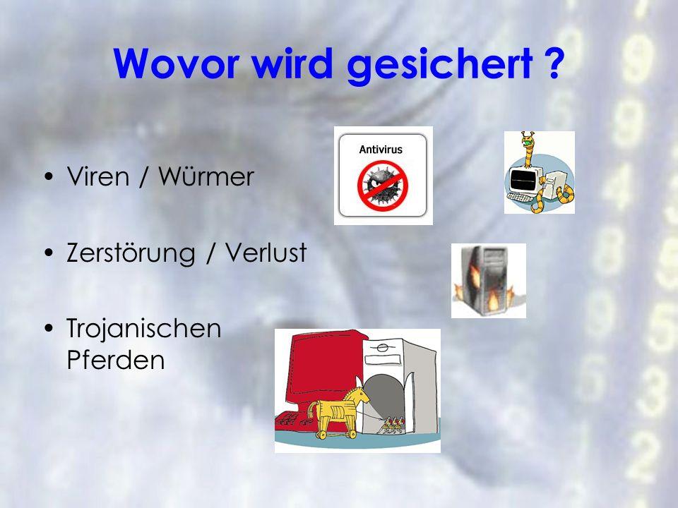 Wovor wird gesichert ? Viren / Würmer Zerstörung / Verlust Trojanischen Pferden