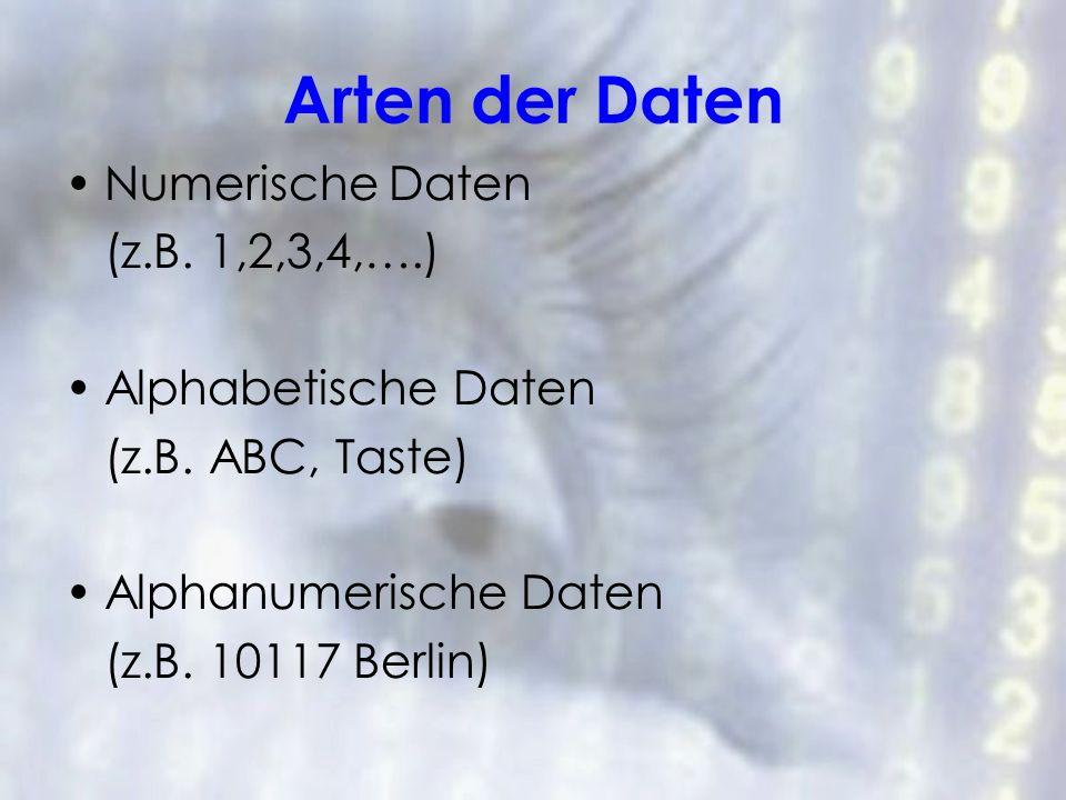Arten der Daten Numerische Daten (z.B. 1,2,3,4,….) Alphabetische Daten (z.B. ABC, Taste) Alphanumerische Daten (z.B. 10117 Berlin)