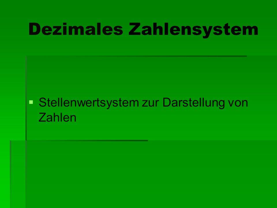 Dezimales Zahlensystem Stellenwertsystem zur Darstellung von Zahlen