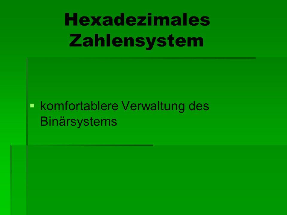 Hexadezimales Zahlensystem komfortablere Verwaltung des Binärsystems