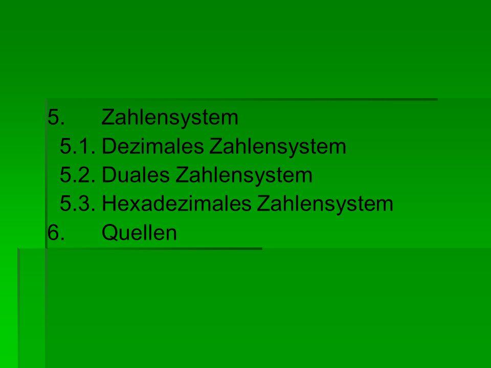 5. Zahlensystem 5.1. Dezimales Zahlensystem 5.2. Duales Zahlensystem 5.3. Hexadezimales Zahlensystem 6. Quellen