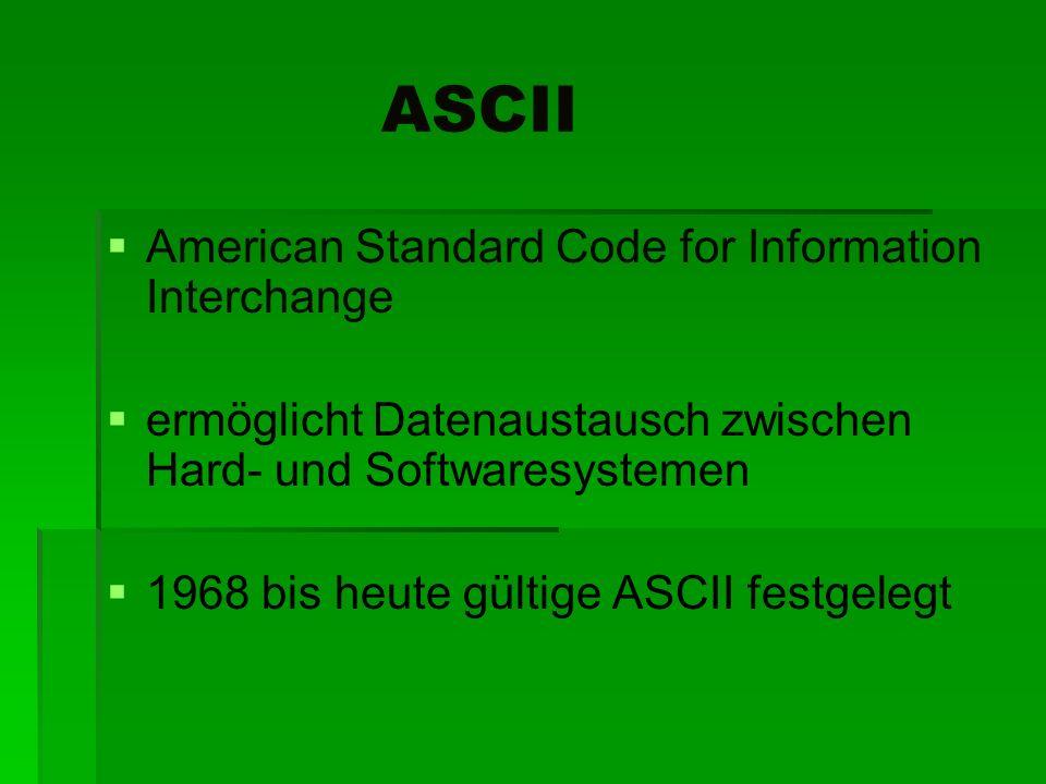 ASCII American Standard Code for Information Interchange ermöglicht Datenaustausch zwischen Hard- und Softwaresystemen 1968 bis heute gültige ASCII fe