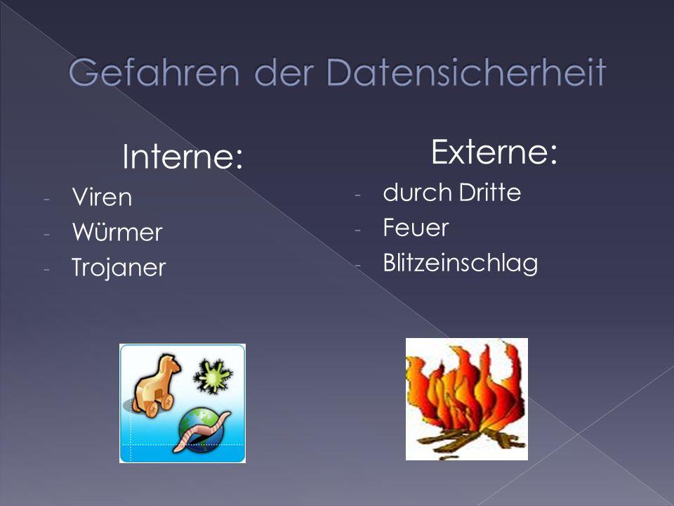 Interne: - Viren - Würmer - Trojaner Externe: - durch Dritte - Feuer - Blitzeinschlag