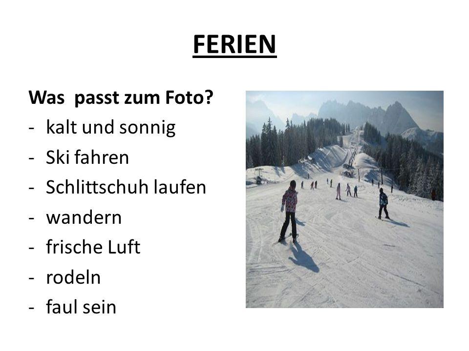 FERIEN Was passt zum Foto? -kalt und sonnig -Ski fahren -Schlittschuh laufen -wandern -frische Luft -rodeln -faul sein