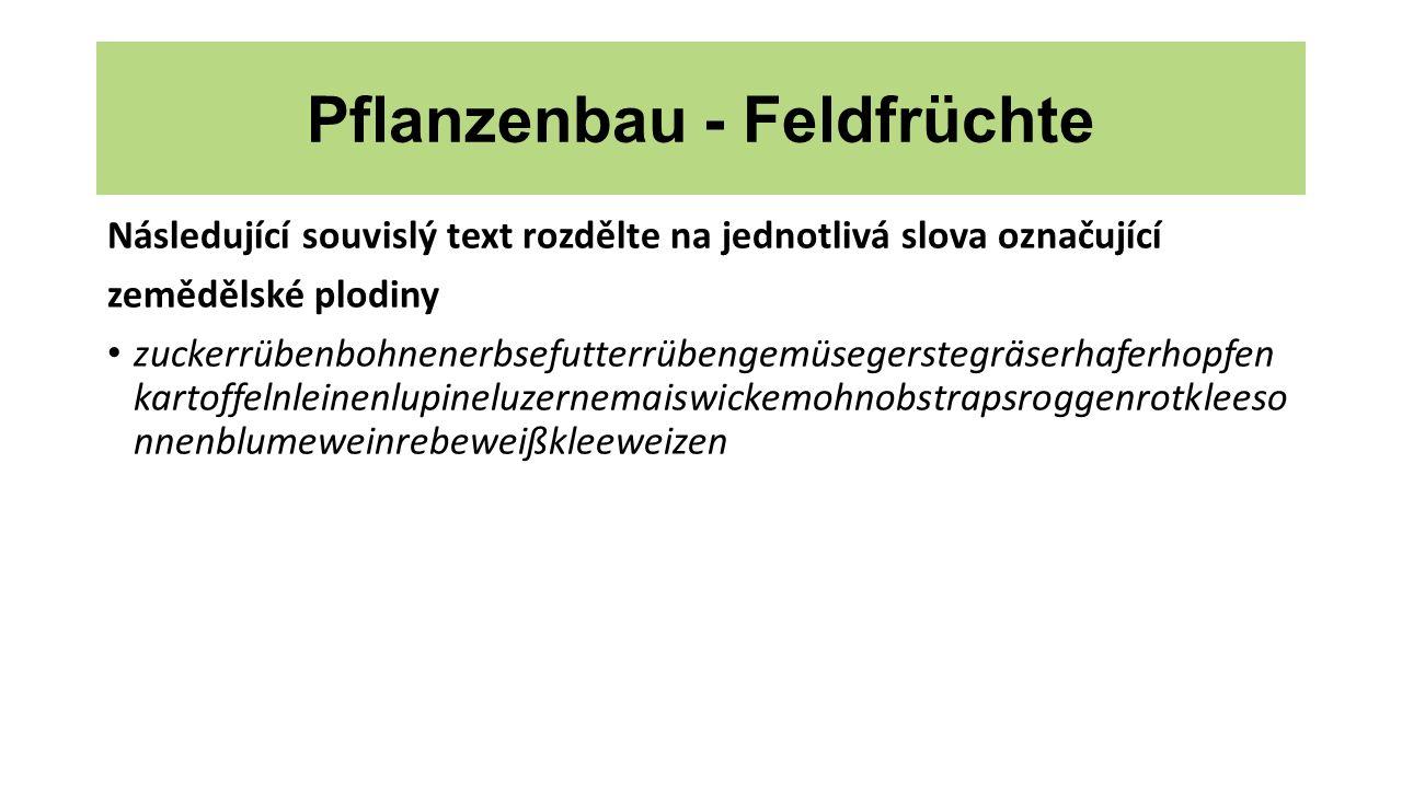Pflanzenbau - Feldfrüchte Následující souvislý text rozdělte na jednotlivá slova označující zemědělské plodiny zuckerrübenbohnenerbsefutterrübengemüse