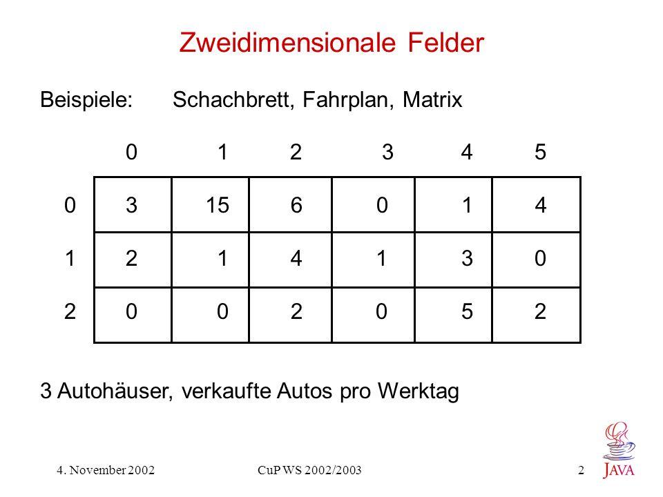 4. November 2002 CuP WS 2002/2003 2 Zweidimensionale Felder Beispiele: Schachbrett, Fahrplan, Matrix 0 1 2 3 4 5 0 3 15 6 0 1 4 1 2 1 4 1 3 0 2 0 0 2