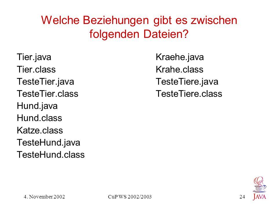 4.November 2002 CuP WS 2002/2003 24 Welche Beziehungen gibt es zwischen folgenden Dateien.
