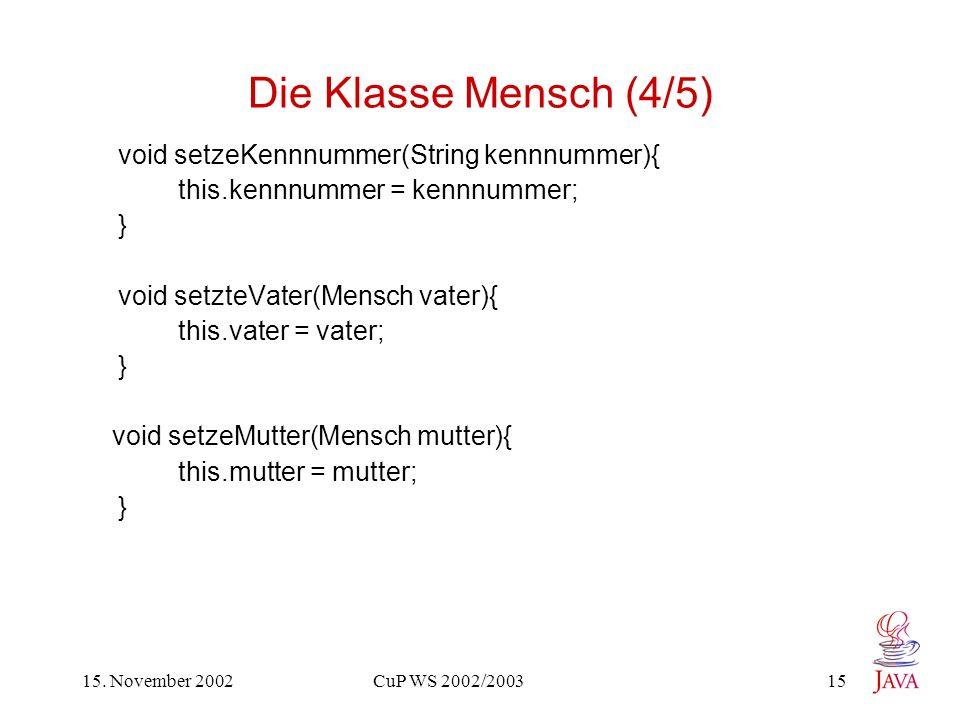 15. November 2002 CuP WS 2002/2003 15 Die Klasse Mensch (4/5) void setzeKennnummer(String kennnummer){ this.kennnummer = kennnummer; } void setzteVate