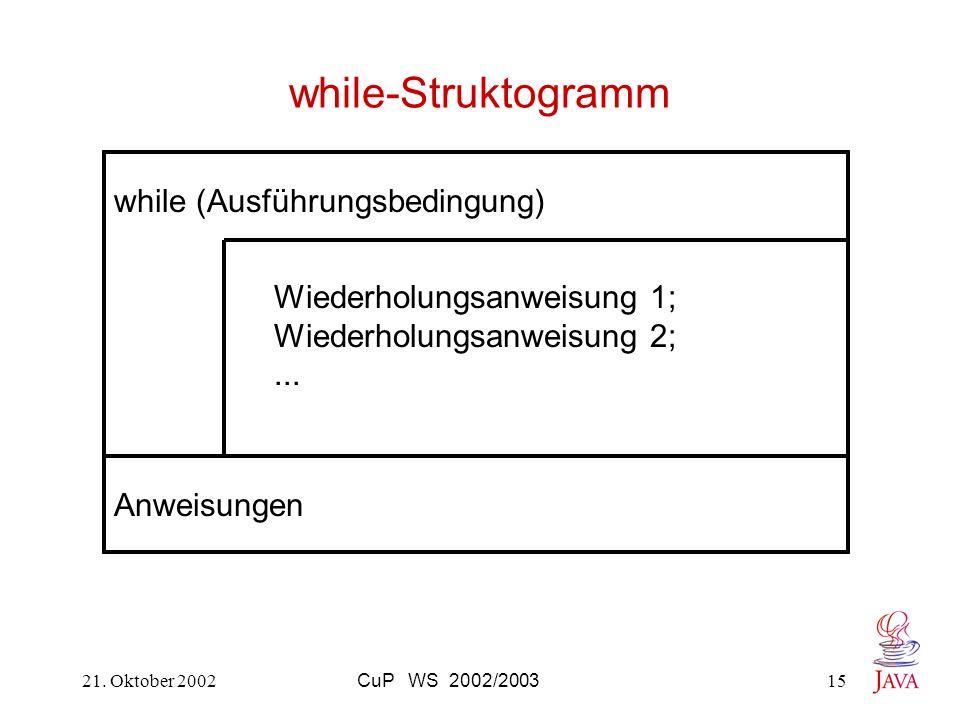 21. Oktober 2002CuP WS 2002/200315 while-Struktogramm while (Ausführungsbedingung) Wiederholungsanweisung 1; Wiederholungsanweisung 2;... Anweisungen