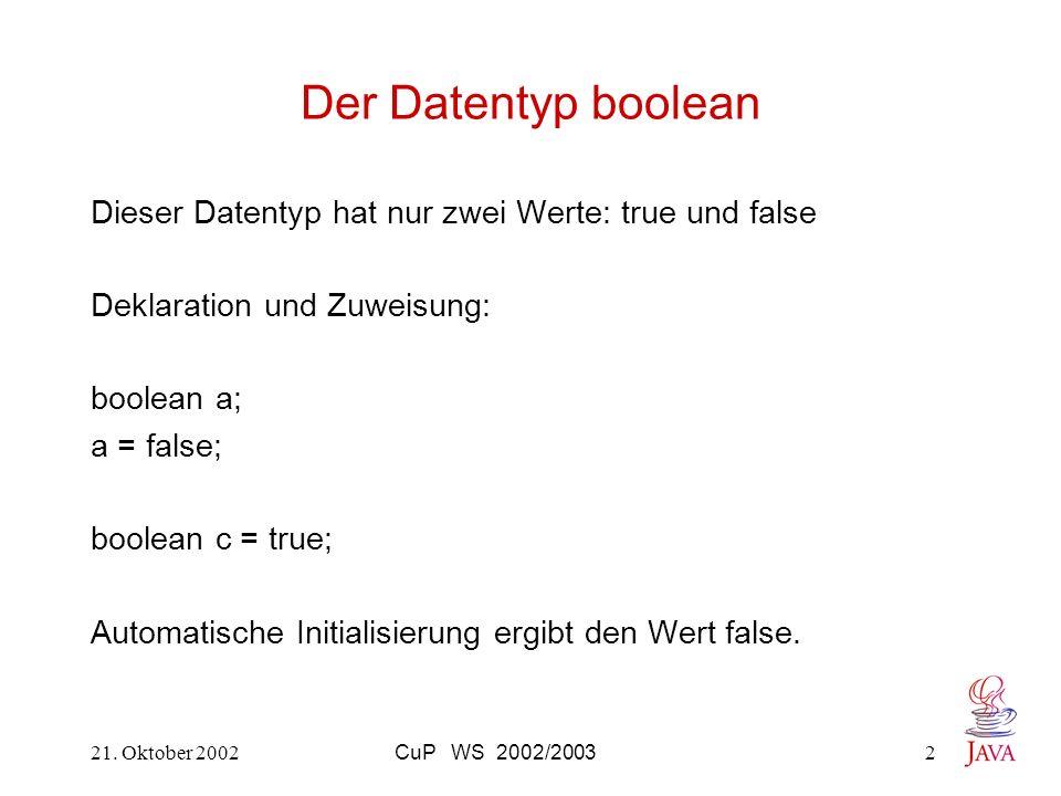 21. Oktober 2002CuP WS 2002/20032 Der Datentyp boolean Dieser Datentyp hat nur zwei Werte: true und false Deklaration und Zuweisung: boolean a; a = fa