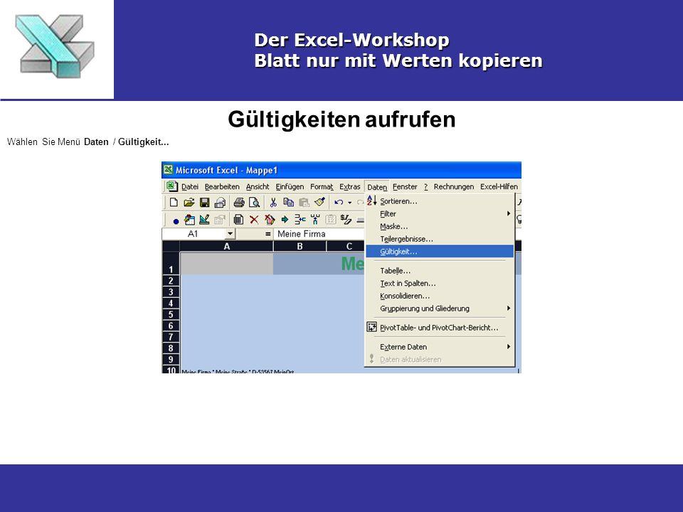 Gültigkeiten aufrufen Der Excel-Workshop Blatt nur mit Werten kopieren Wählen Sie Menü Daten / Gültigkeit...
