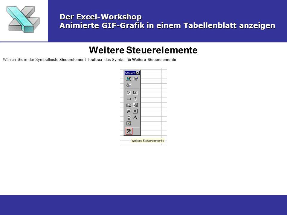 Weitere Steuerelemente Der Excel-Workshop Animierte GIF-Grafik in einem Tabellenblatt anzeigen Wählen Sie in der Symbolleiste Steuerelement-Toolbox da