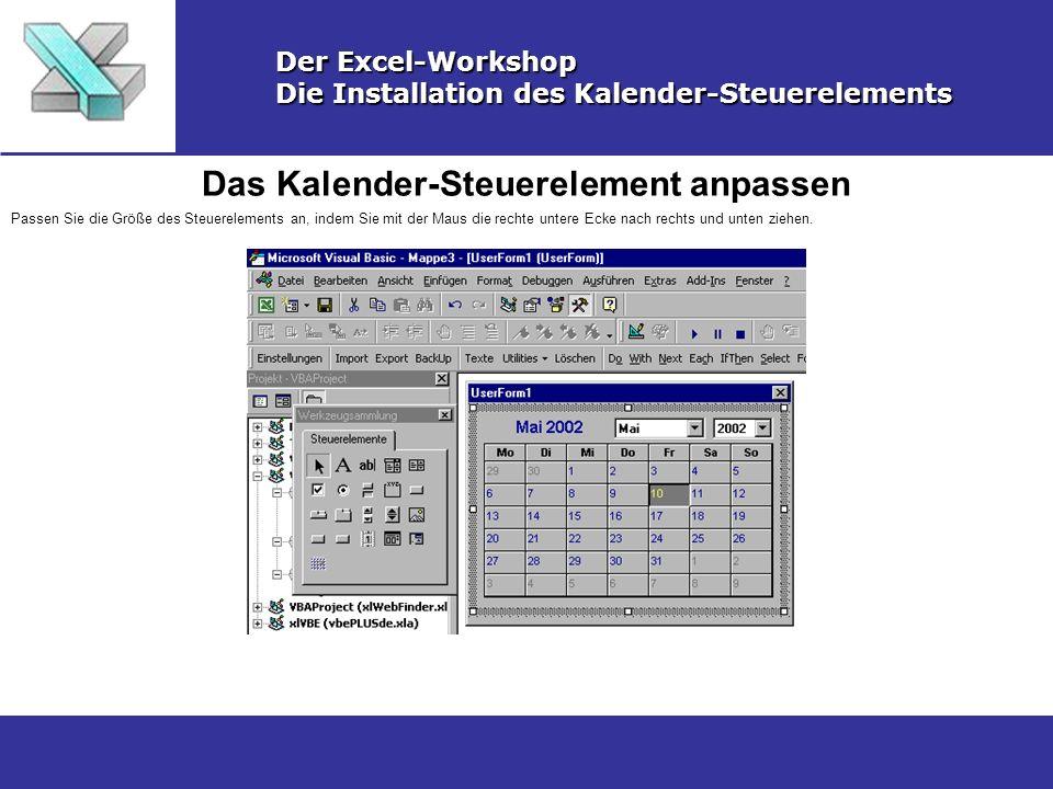 Das Kalender-Steuerelement anpassen Der Excel-Workshop Die Installation des Kalender-Steuerelements Passen Sie die Größe des Steuerelements an, indem