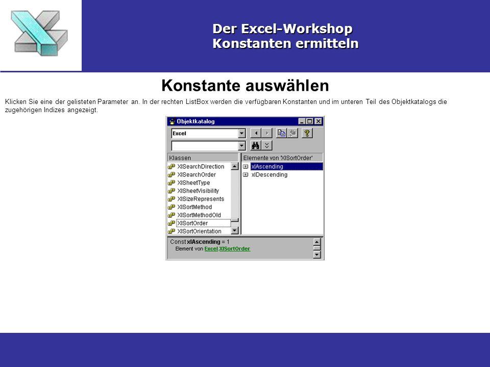 Konstante auswählen Der Excel-Workshop Konstanten ermitteln Klicken Sie eine der gelisteten Parameter an. In der rechten ListBox werden die verfügbare