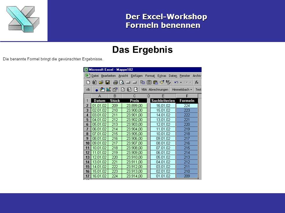 Das Ergebnis Der Excel-Workshop Formeln benennen Die benannte Formel bringt die gewünschten Ergebnisse.