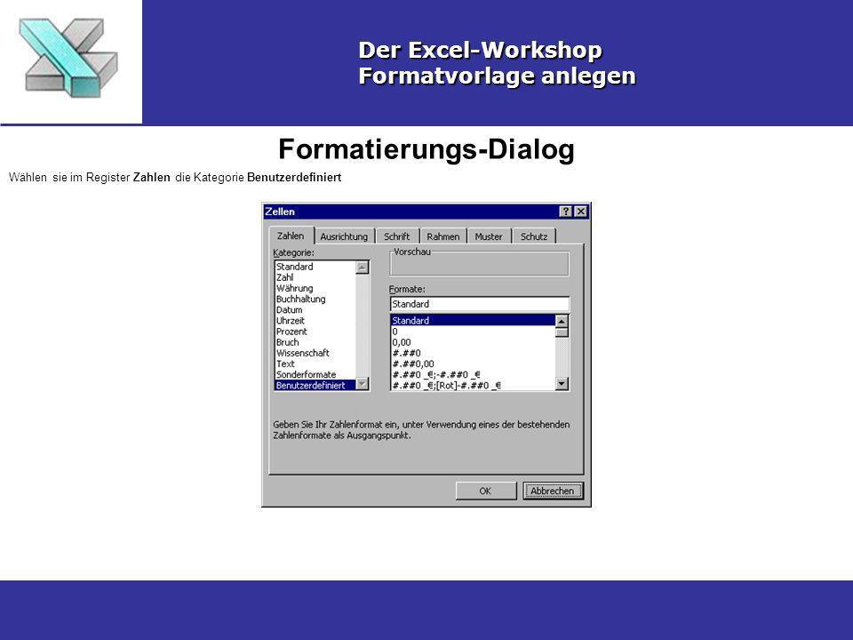 Formatierungs-Dialog Der Excel-Workshop Formatvorlage anlegen Wählen sie im Register Zahlen die Kategorie Benutzerdefiniert