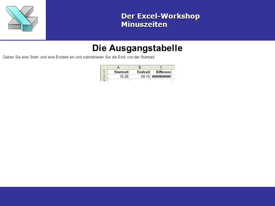 Die Ausgangstabelle Der Excel-Workshop Minuszeiten Geben Sie eine Start- und eine Endzeit ein und subtrahieren Sie die End- von der Startzeit.
