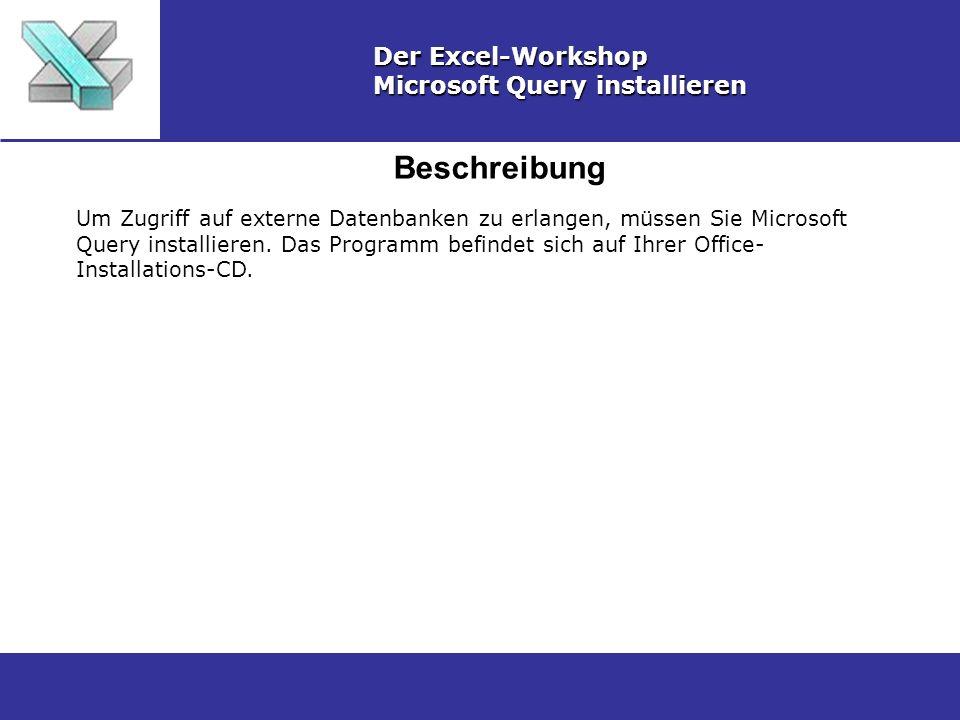 Beschreibung Der Excel-Workshop Microsoft Query installieren Um Zugriff auf externe Datenbanken zu erlangen, müssen Sie Microsoft Query installieren.