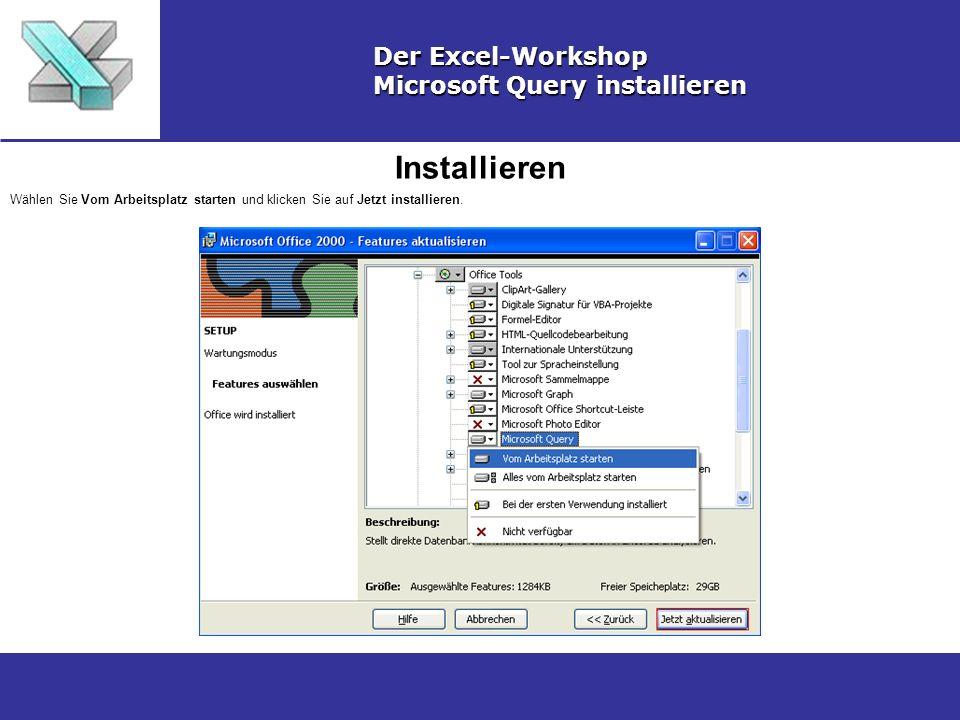Installieren Der Excel-Workshop Microsoft Query installieren Wählen Sie Vom Arbeitsplatz starten und klicken Sie auf Jetzt installieren.