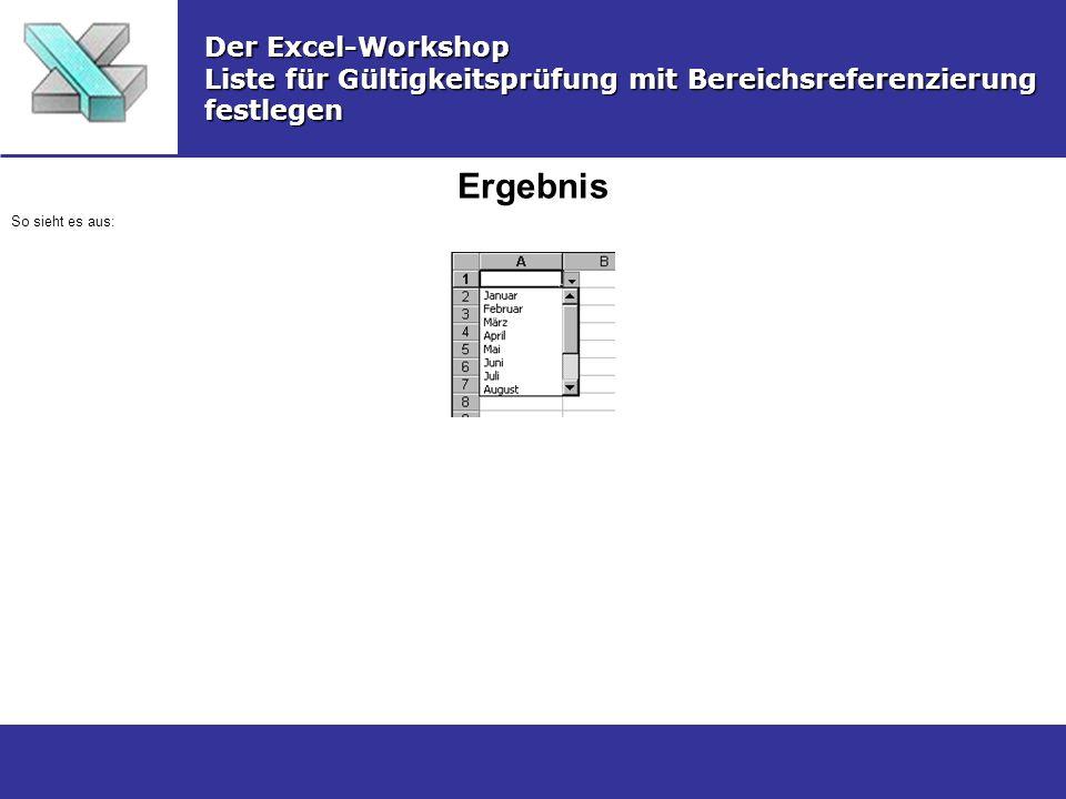 Ergebnis Der Excel-Workshop Liste für Gültigkeitsprüfung mit Bereichsreferenzierung festlegen So sieht es aus: