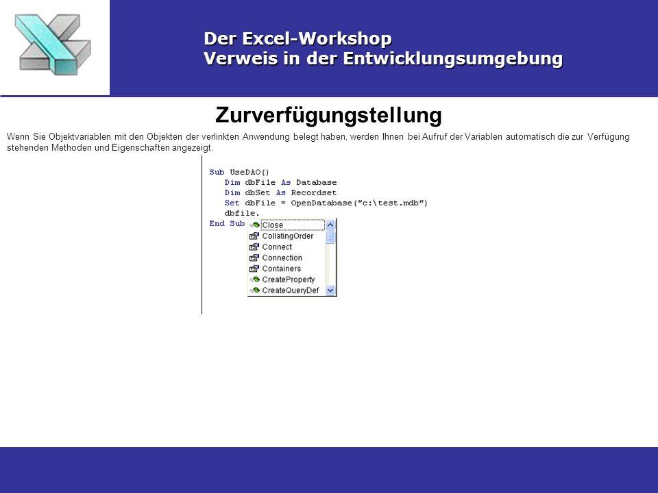 Zurverfügungstellung Der Excel-Workshop Verweis in der Entwicklungsumgebung Wenn Sie Objektvariablen mit den Objekten der verlinkten Anwendung belegt
