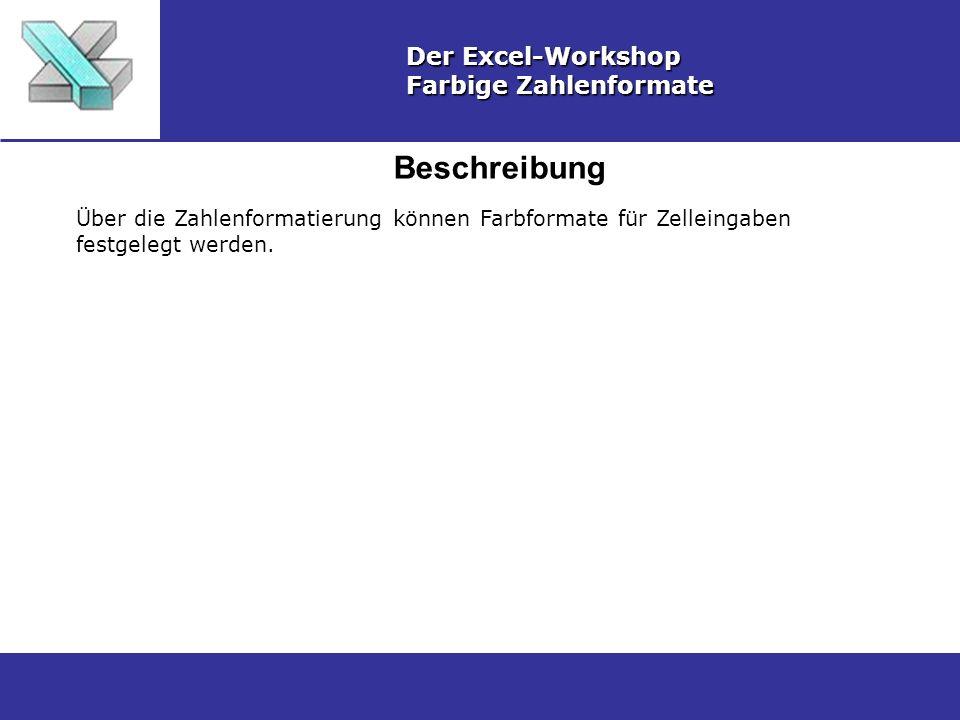 Beschreibung Der Excel-Workshop Farbige Zahlenformate Über die Zahlenformatierung können Farbformate für Zelleingaben festgelegt werden.