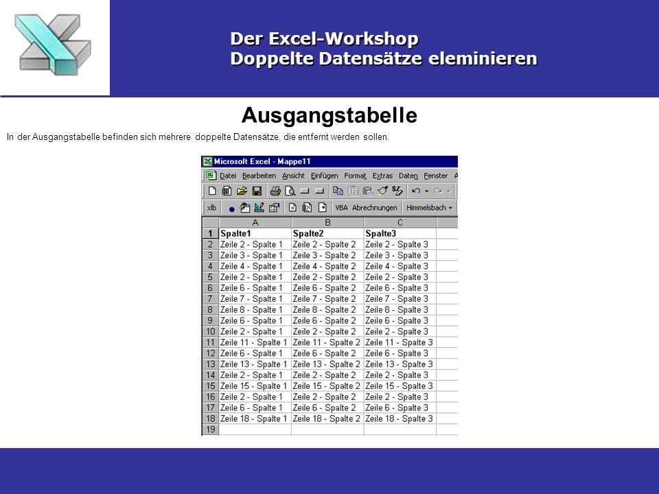 Ausgangstabelle Der Excel-Workshop Doppelte Datensätze eleminieren In der Ausgangstabelle befinden sich mehrere doppelte Datensätze, die entfernt werd
