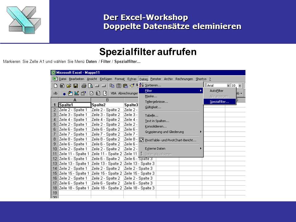 Spezialfilter aufrufen Der Excel-Workshop Doppelte Datensätze eleminieren Markieren Sie Zelle A1 und wählen Sie Menü Daten / Filter / Spezialfilter...