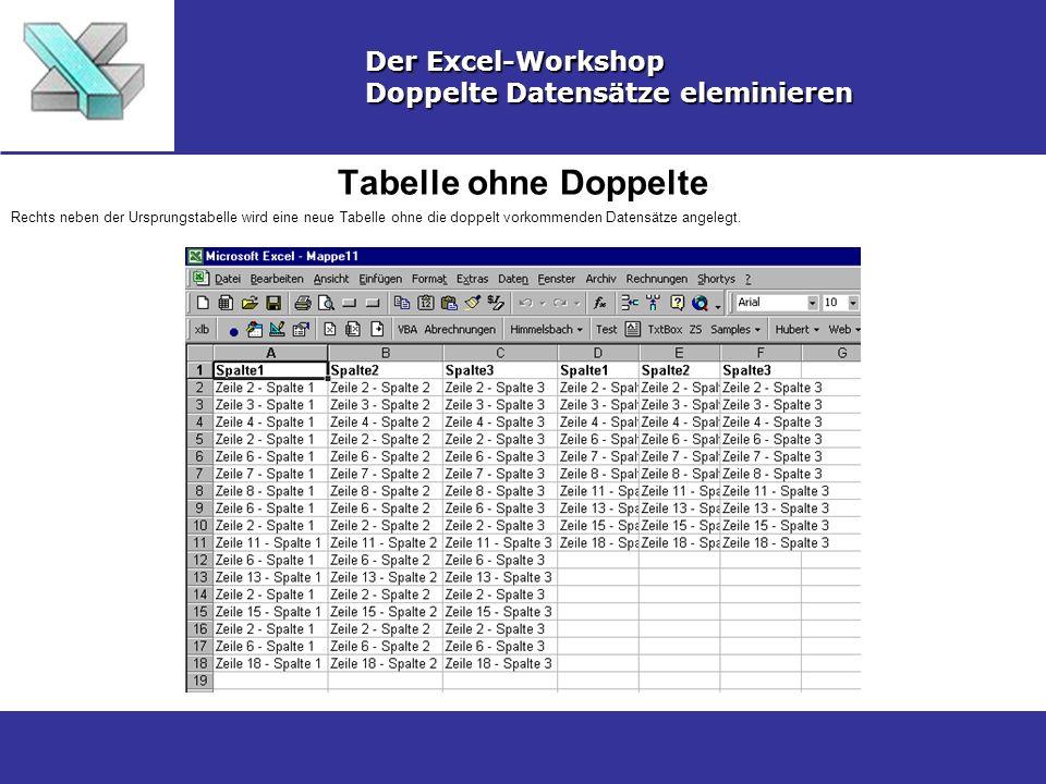 Quelldaten löschen Der Excel-Workshop Doppelte Datensätze eleminieren Markieren Sie die Spalten der Ursprungstabelle und wählen aus dem Kontextmenü (rechte Maustaste) Zelle löschen.