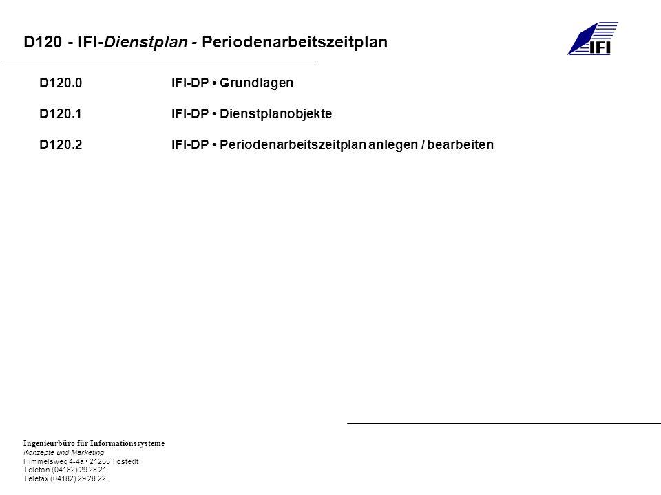 Ingenieurbüro für Informationssysteme Konzepte und Marketing Himmelsweg 4-4a 21255 Tostedt Telefon (04182) 29 28 21 Telefax (04182) 29 28 22 D120 - IFI-Dienstplan - Periodenarbeitszeitplan D120.0-0 IFI-DP Grundlagen Der Periodenarbeitszeitplan - PAZ-Plan - dient Ihnen dazu, für Ihre Einrichtung oder jede einzelne Station Vorgaben für die Anzahl an anwesenden Mitarbeitern zu machen.