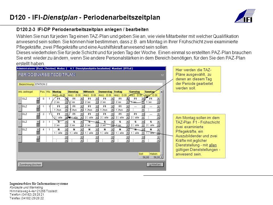 Ingenieurbüro für Informationssysteme Konzepte und Marketing Himmelsweg 4-4a 21255 Tostedt Telefon (04182) 29 28 21 Telefax (04182) 29 28 22 D120 - IFI-Dienstplan - Periodenarbeitszeitplan D120.2-3 IFI-DP Periodenarbeitszeitplan anlegen / bearbeiten Wählen Sie nun für jeden Tag einen TAZ-Plan und geben Sie an, wie viele Mitarbeiter mit welcher Qualifikation anwesend sein sollen.