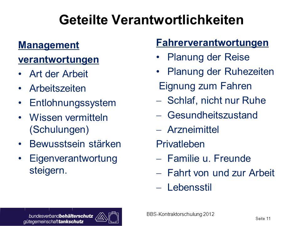 Geteilte Verantwortlichkeiten Management verantwortungen Art der Arbeit Arbeitszeiten Entlohnungssystem Wissen vermitteln (Schulungen) Bewusstsein stä