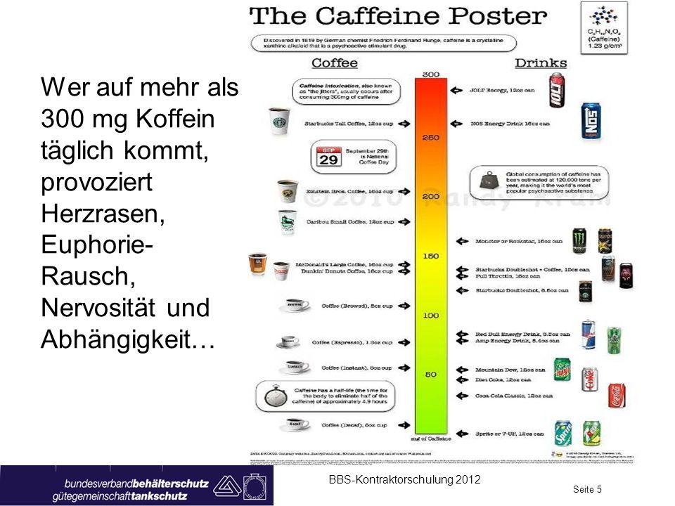 Wer auf mehr als 300 mg Koffein täglich kommt, provoziert Herzrasen, Euphorie- Rausch, Nervosität und Abhängigkeit… BBS-Kontraktorschulung 2012 Seite