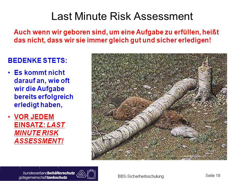 BBS-Sicherheitsschulung Seite 18 Last Minute Risk Assessment Auch wenn wir geboren sind, um eine Aufgabe zu erfüllen, heißt das nicht, dass wir sie im