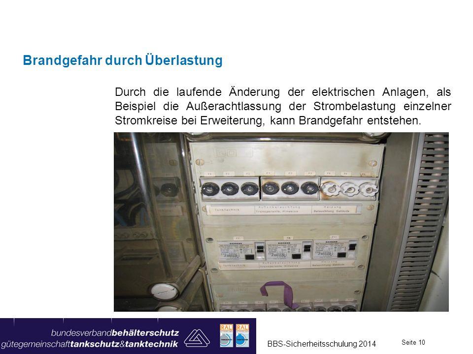 Durch die laufende Änderung der elektrischen Anlagen, als Beispiel die Außerachtlassung der Strombelastung einzelner Stromkreise bei Erweiterung, kann