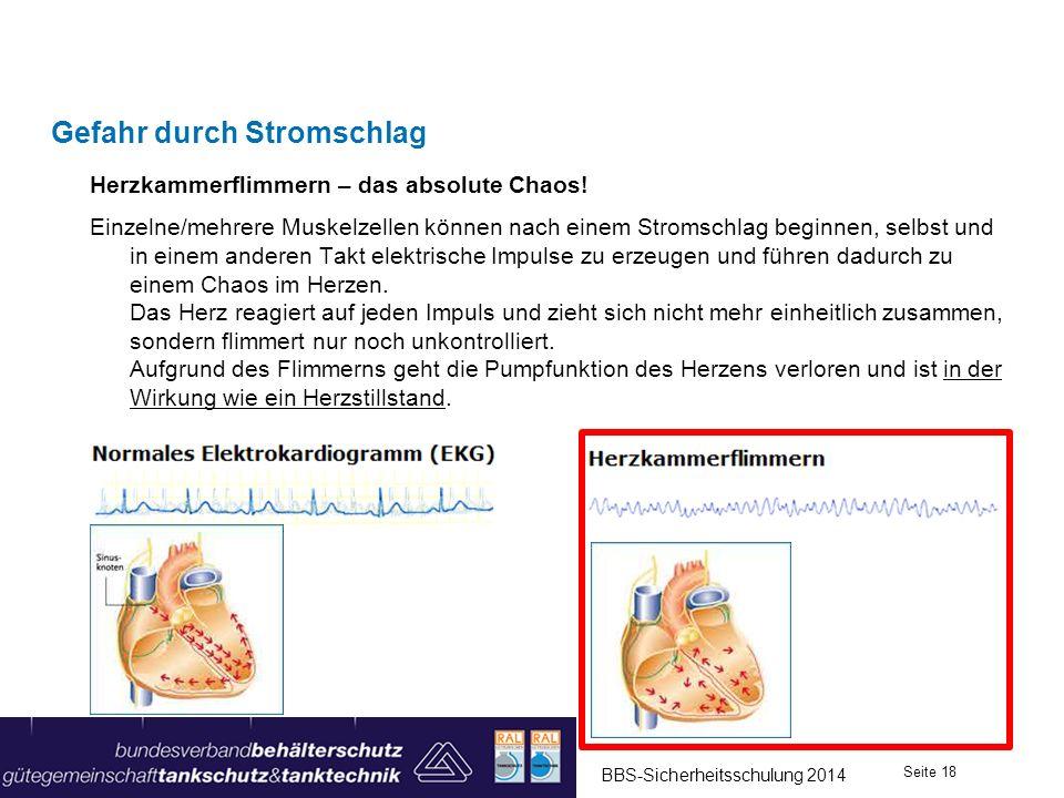 Gefahr durch Stromschlag Herzkammerflimmern – das absolute Chaos! Einzelne/mehrere Muskelzellen können nach einem Stromschlag beginnen, selbst und in