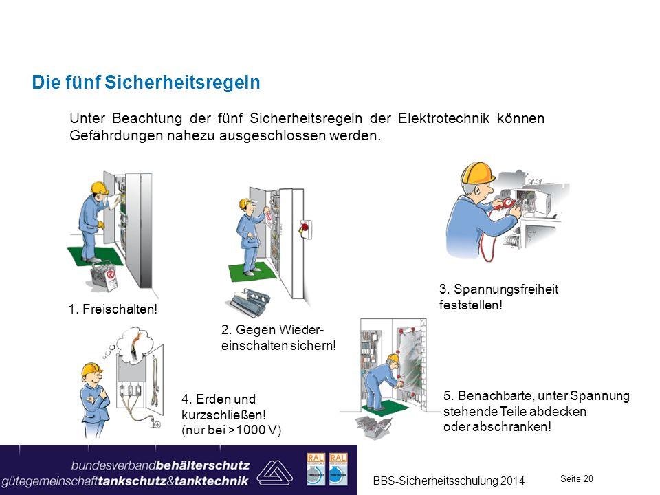 Die fünf Sicherheitsregeln Unter Beachtung der fünf Sicherheitsregeln der Elektrotechnik können Gefährdungen nahezu ausgeschlossen werden. 4. Erden un