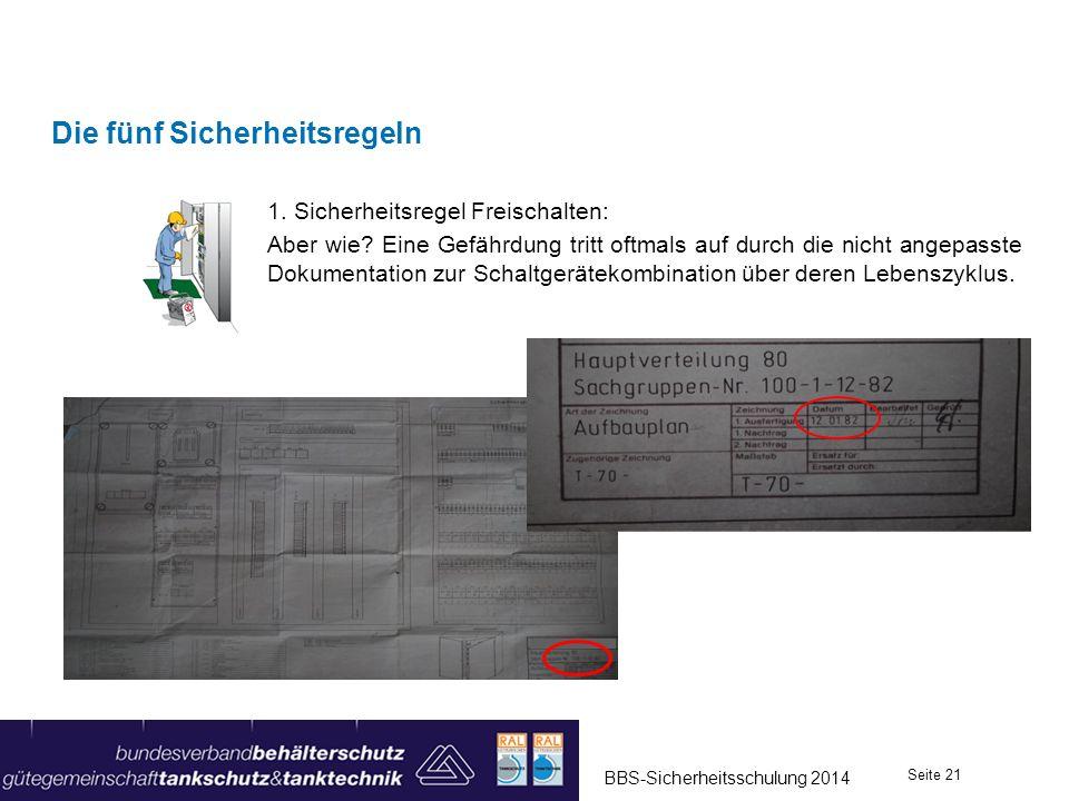 1. Sicherheitsregel Freischalten: Aber wie? Eine Gefährdung tritt oftmals auf durch die nicht angepasste Dokumentation zur Schaltgerätekombination übe