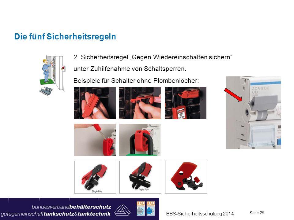 Die fünf Sicherheitsregeln 2. Sicherheitsregel Gegen Wiedereinschalten sichern unter Zuhilfenahme von Schaltsperren. Beispiele für Schalter ohne Plomb
