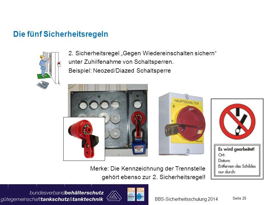 Die fünf Sicherheitsregeln 2. Sicherheitsregel Gegen Wiedereinschalten sichern unter Zuhilfenahme von Schaltsperren. Beispiel: Neozed/Diazed Schaltspe