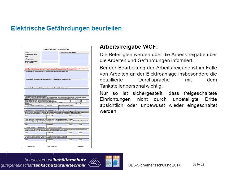 Elektrische Gefährdungen beurteilen Arbeitsfreigabe WCF: Die Beteiligten werden über die Arbeitsfreigabe über die Arbeiten und Gefährdungen informiert