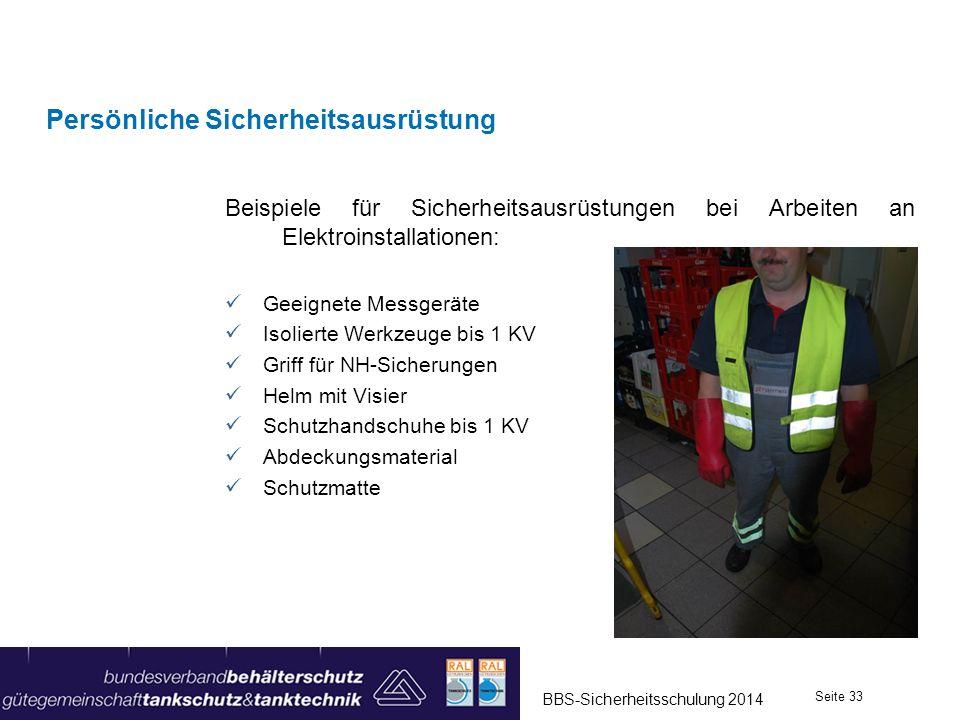 Beispiele für Sicherheitsausrüstungen bei Arbeiten an Elektroinstallationen: Geeignete Messgeräte Isolierte Werkzeuge bis 1 KV Griff für NH-Sicherunge