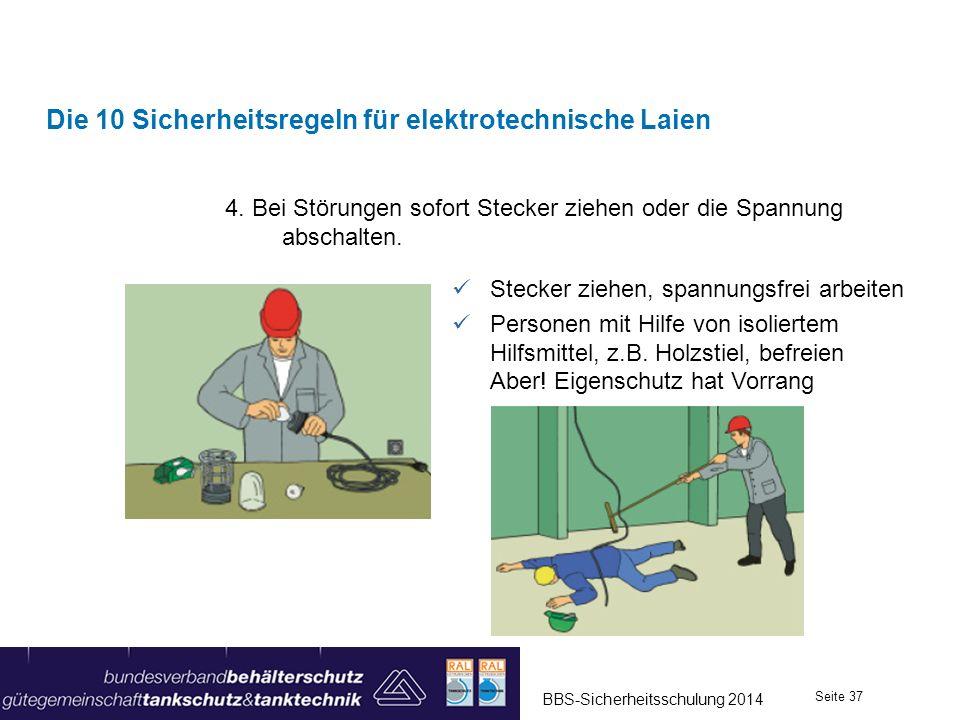 4. Bei Störungen sofort Stecker ziehen oder die Spannung abschalten. Die 10 Sicherheitsregeln für elektrotechnische Laien Stecker ziehen, spannungsfre