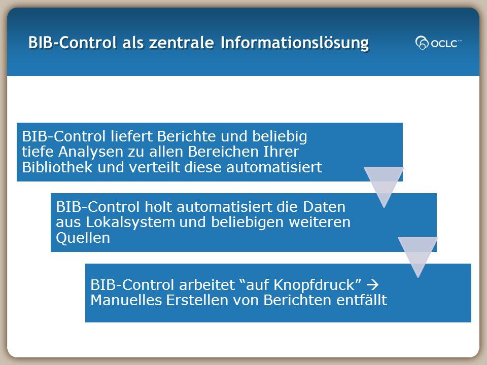 BIB-Control als zentrale Informationslösung BIB-Control liefert Berichte und beliebig tiefe Analysen zu allen Bereichen Ihrer Bibliothek und verteilt