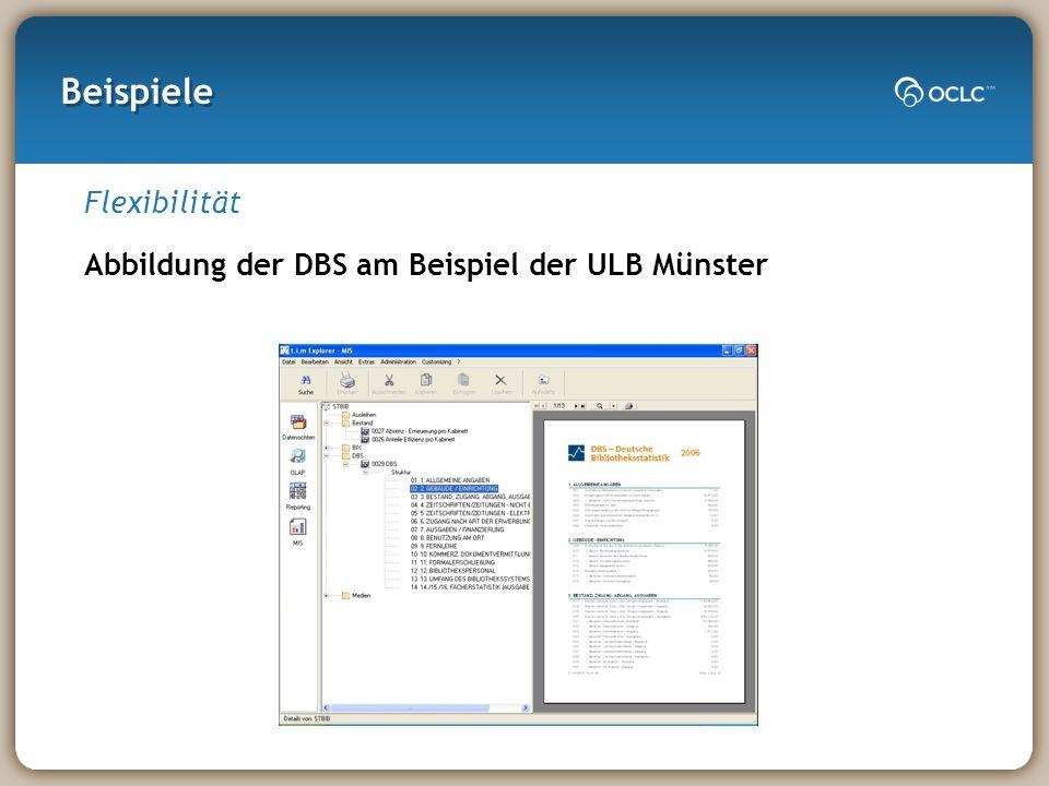 Beispiele Flexibilität Abbildung der DBS am Beispiel der ULB Münster