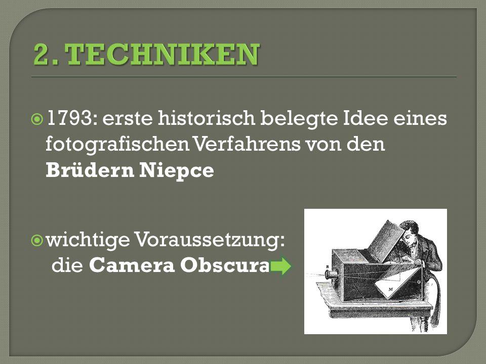 1793: erste historisch belegte Idee eines fotografischen Verfahrens von den Brüdern Niepce wichtige Voraussetzung: die Camera Obscura