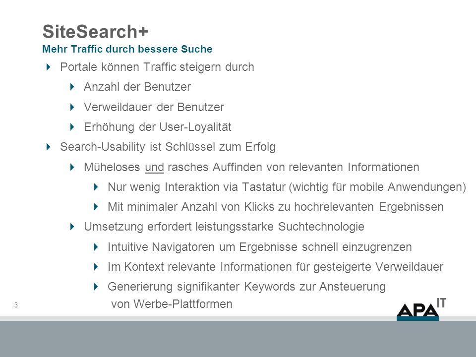 SiteSearch+ Mehr Traffic durch bessere Suche 3 Portale können Traffic steigern durch Anzahl der Benutzer Verweildauer der Benutzer Erhöhung der User-L