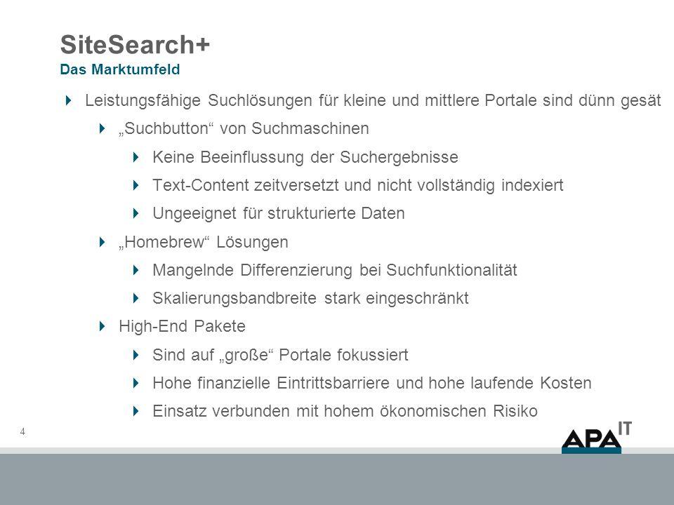 SiteSearch+ Das Marktumfeld 4 Leistungsfähige Suchlösungen für kleine und mittlere Portale sind dünn gesät Suchbutton von Suchmaschinen Keine Beeinflu