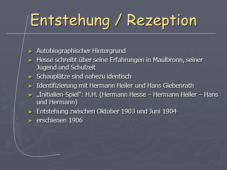 Entstehung / Rezeption Autobiographischer Hintergrund Autobiographischer Hintergrund Hesse schreibt über seine Erfahrungen in Maulbronn, seiner Jugend und Schulzeit Hesse schreibt über seine Erfahrungen in Maulbronn, seiner Jugend und Schulzeit Schauplätze sind nahezu identisch Schauplätze sind nahezu identisch Identifizierung mit Hermann Heiler und Hans Giebenrath Identifizierung mit Hermann Heiler und Hans Giebenrath Initialien-Spiel: H.H.