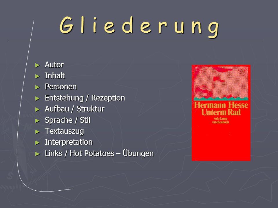 G l i e d e r u n g Autor Autor Inhalt Inhalt Personen Personen Entstehung / Rezeption Entstehung / Rezeption Aufbau / Struktur Aufbau / Struktur Spra